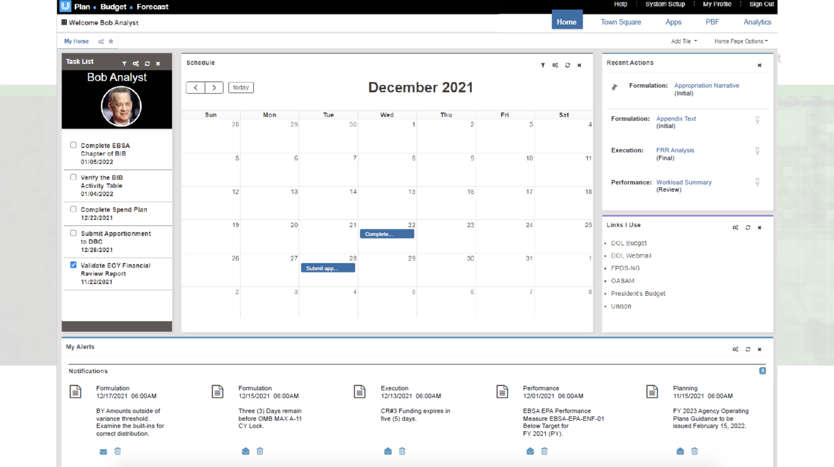 Planning, Budgeting, and Forecasting Home page